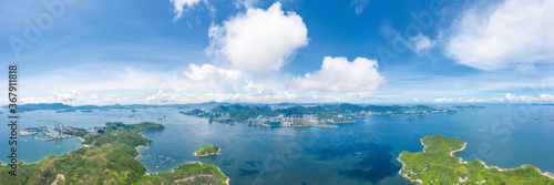 Amazing aerial view of Lamma Island, South of Hong Kong, sunny day, outdoor, panorama