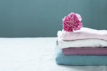 Stack Of Clean Washing Pink Bl...
