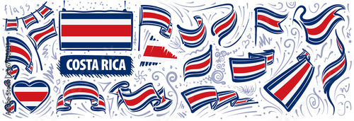 Photo Vector set of the national flag of Costa Rica in various creative designs
