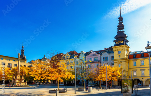 Obraz View of Masaryk Square, central square of Ostrava city overlooking Old Town Hall and Marian column on sunny autumn day, Czech Republic - fototapety do salonu