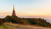The Great Holy Relics Pagoda Nabhamethanidol And Nabhapolbhumisiri With Beautiful Sunset Sky Background At Doi Inthanon Chiang Mai, Thailand. Panorama View