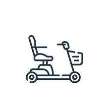 Mobility Scooter Icon Vector From Supermarket Concept. Thin Line Illustration Of Mobility Scooter Editable Stroke. Mobility Scooter Linear Sign For Use On Web And Mobile Apps, Logo, Print Media.