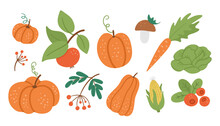 Vector Set Of Cute Autumn Vege...