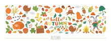 Vector Horizontal Autumn Set With Animals, Plants, Leaves, Bell, Pumpkins Isolated On White Background. Funny Fall Season Design For Banners, Posters, Invitations. Cute Landscape Card Template .