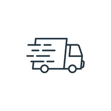 Fast Delivery Icon Vector From E Commerce Concept. Thin Line Illustration Of Fast Delivery Editable Stroke. Fast Delivery Linear Sign For Use On Web And Mobile Apps, Logo, Print Media.