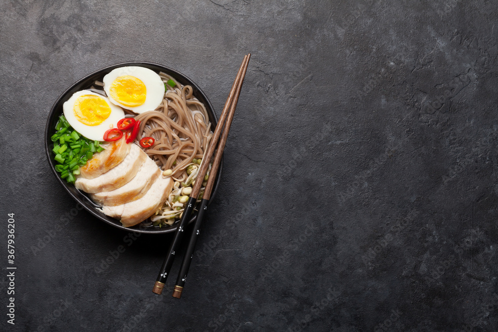 Fototapeta Asian noodle ramen soup