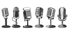 Set Of Illustrations Of Retro Microphone Isolated On White Background. Design Element For Poster, Card, Banner, Logo, Label, Sign, Badge, T Shirt. Vector Illustration