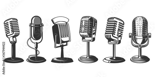 Photographie Set of illustrations of retro microphone isolated on white background