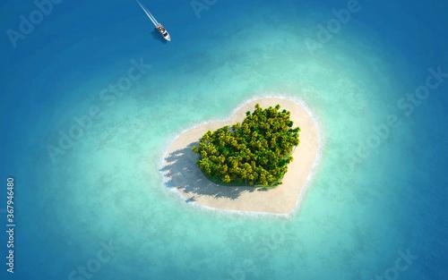 Fototapeta island in the form of heart obraz
