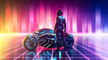 Cyberpunk Motorbike On A Vibra...
