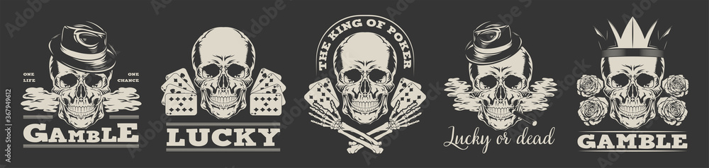 Fototapeta Gambling logos set. Vector illustration in vintage style of skulls in gangster top hats or crown with playing cards and text samples. Can be used for poker club labels, casino concept