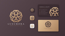 Luxury Flower Logo Design With Business Card
