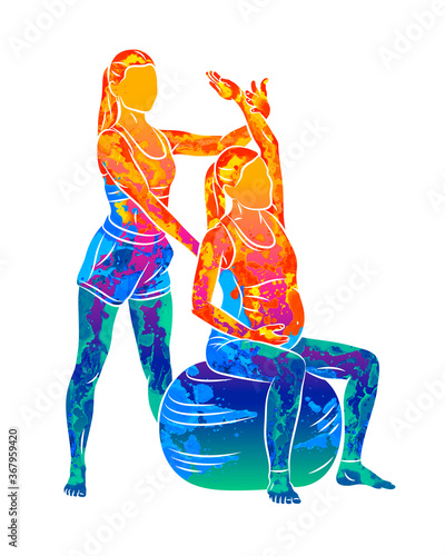 Canvas Print Abstract Young pregnant woman doing fitness ball and pilates exercise with coach from splash of watercolors