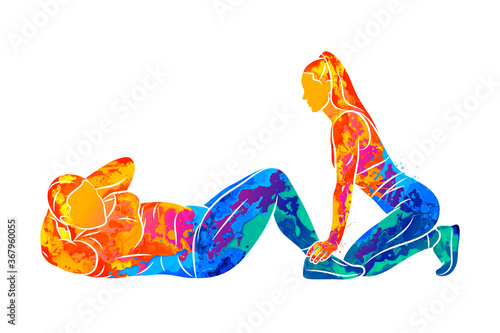 Canvas Print Abstract young plus-size woman does a press exercise with a trainer from splash of watercolors