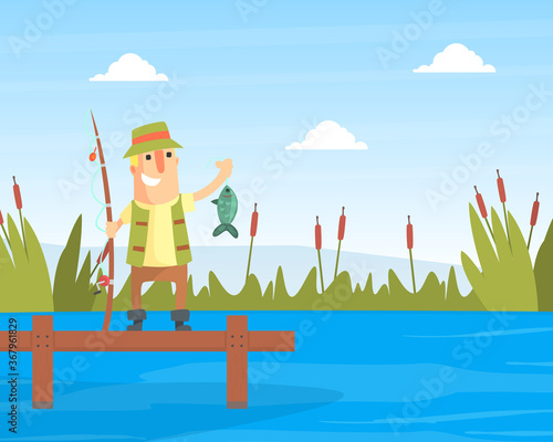 Cuadros en Lienzo Happy Fisherman Character Standing on Wooden Pier Holding Fishing Rod with Caugh