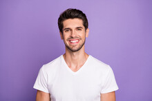 Close-up Portrait Of His He Nice Attractive Content Cheerful Cheery Guy Sales Manager Worker Freelancer Isolated Over Bright Vivid Shine Vibrant Lilac Violet Purple Color Background