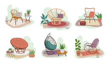 Set Of Rattan Furniture. Collection Of Indoor Garden With Chairs And Plants. Modern Illustration.