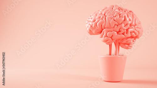 Obraz pink brain growing on a plant 3d rendering - fototapety do salonu