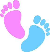 Baby Footprint, Pink, Blue, Heart, Silhouette. Vector Illustration