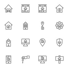 Real Estate Related Line Icons Set, Outline Vector Symbol Collection, Linear Style Pictogram Pack. Signs, Logo Illustration. Set Includes Icons As House Rent, Sale, Mortgage, Insurance, Online Booking