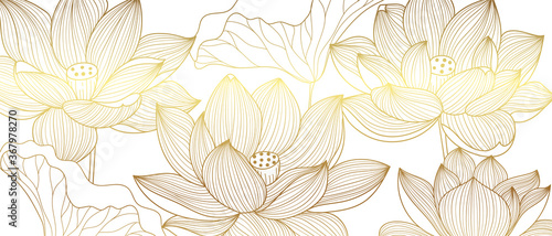 Obraz Luxury wallpaper design with Golden lotus and natural background. Lotus line arts design for fabric, prints and background texture, Vector illustration. - fototapety do salonu