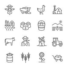 Farm, Agriculture Icon Set. Cultivating Plants And Livestock, Farming, Linear Icons. Line With Editable Stroke