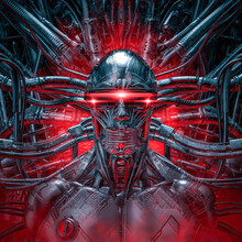 The Dark Sentinel / 3D Illustration Of Futuristic Metallic Science Fiction Male Humanoid Cyborg Inside Computer Core