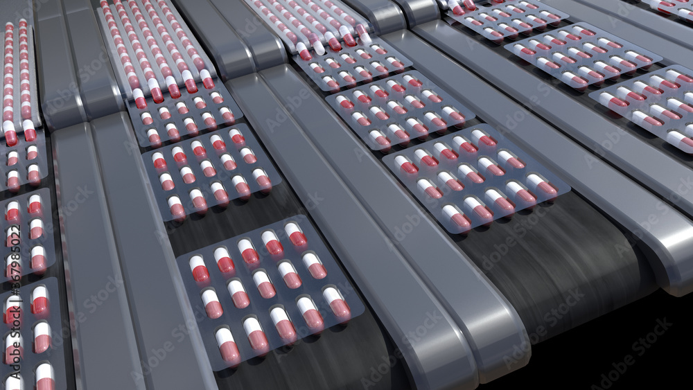 Fototapeta pharmacy medicine capsule pill in production line at medical factory