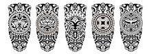 Set Of Tattoo Sketch Maori Style For Leg Or Shoulder	 With Sun Symbols Face And Swastika.