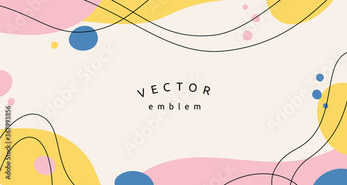 Fototapeta Vector abstract creative background in minimal trendy style with copy space for text and modern art shapes - digital collage, horizontal design template for social media and websites  obraz