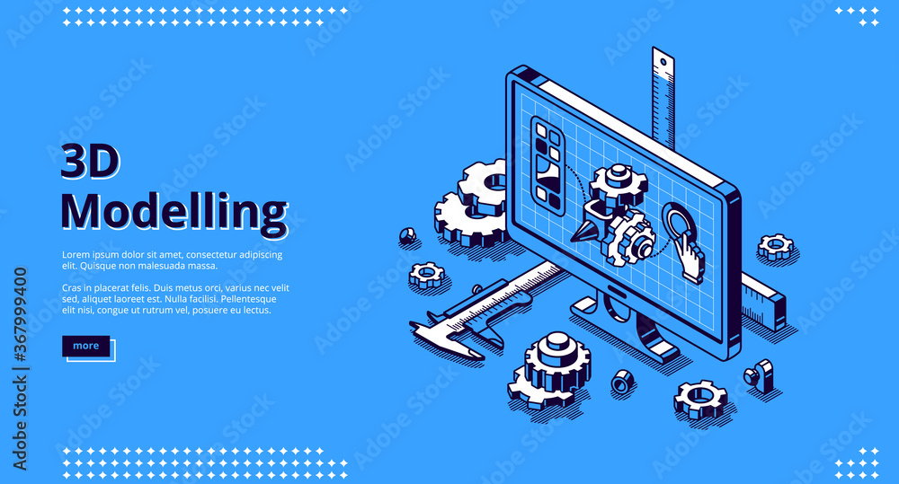 Fototapeta 3d modelling isometric landing page. Cad engineer model project on computer desktop screen with construction supplies around. Software program for pc, technical blueprint, vector line art web banner