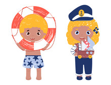 Children Play With Nautical Toys.