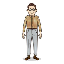 Vector Cartoon Character - Young Man In Checkered Shirt And Eyeglasses