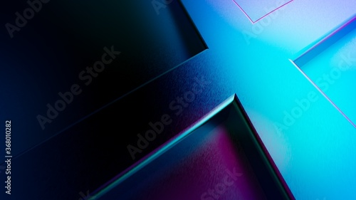 Fotografering 3d rendering of abstract background design with crossing lines in purple and blu