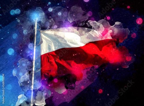 Poland waving flag on isolated background art illustration drawing vintage Fototapeta