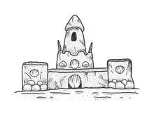 Sand Castle Sketch Raster Illu...