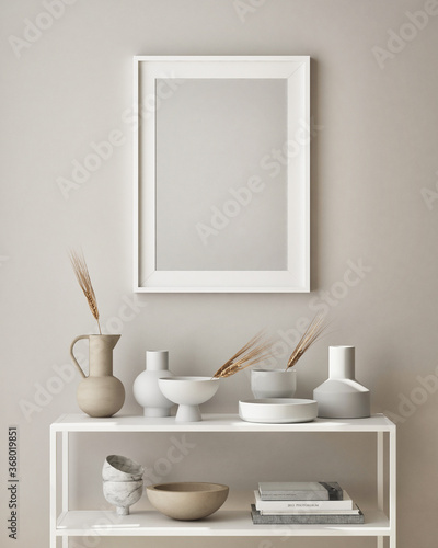 mock up poster frame in modern interior background, living room, Scandinavian style, 3D render, 3D illustration - 368019851