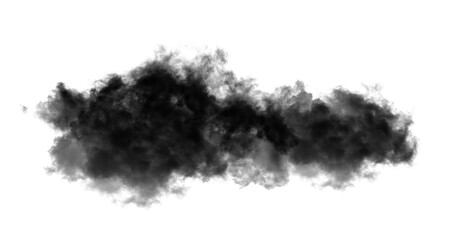 Black clouds or smoke on  white background