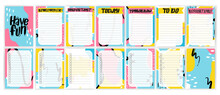 Organizer,planner With Retro Background And Trendy Lettering.