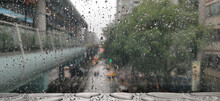Raindrops On Glass Surface In ...