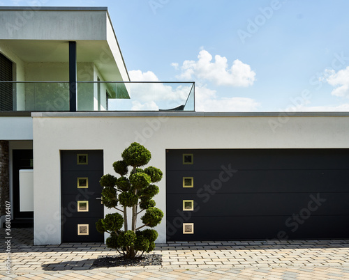 Tela Entrance and garage of a house in minimalist design, with an unnaturally trimmed