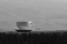Cup Of Capuccino On An Old Sto...