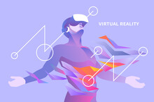 Excited Man With Virtual Reality Headset In Abstract World. Vector Illustration