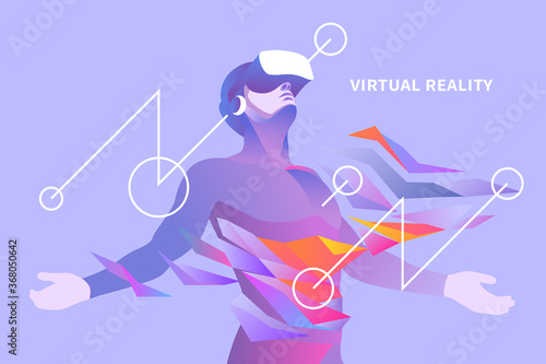 Foto Excited man with virtual reality headset in abstract world