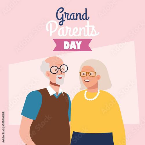 Obraz happy grand parents day with cute older couple vector illustration design - fototapety do salonu
