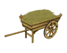 Wooden Cart With Hay. Illustration For Design On A White Background.