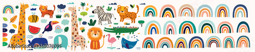 Colorful bright stylish trendy rainbows vector illustrations. Baby animals pattern. Fabric pattern. Vector illustration with cute animals. Nursery baby pattern illustration - 368070095