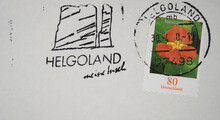 Vintage Retro Alt Old Gestempelt Used Briefmarke Stamp Helgoland Slogan Werbung Lange Anna 80 Blume Flower Kapuzinerkresse Orange