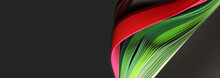 Green And Red Color Strip Wave Paper. Abstract Texture Black Horizontal Background.