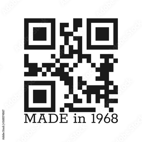 Fotografia inscription is MADE in 1968 with a real QR code for clothing, textiles and greetings